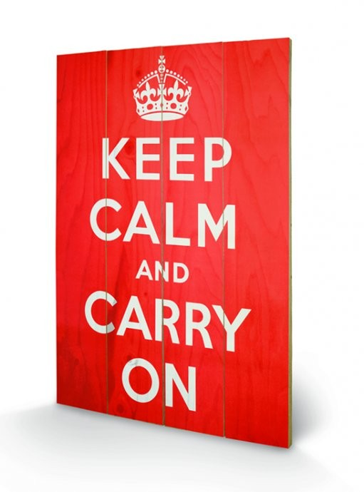 Keep Calm and Carry On kunst op hout