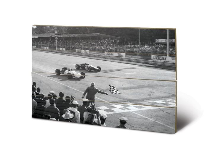 Monaco - Finish (Zwart Wit) kunst op hout