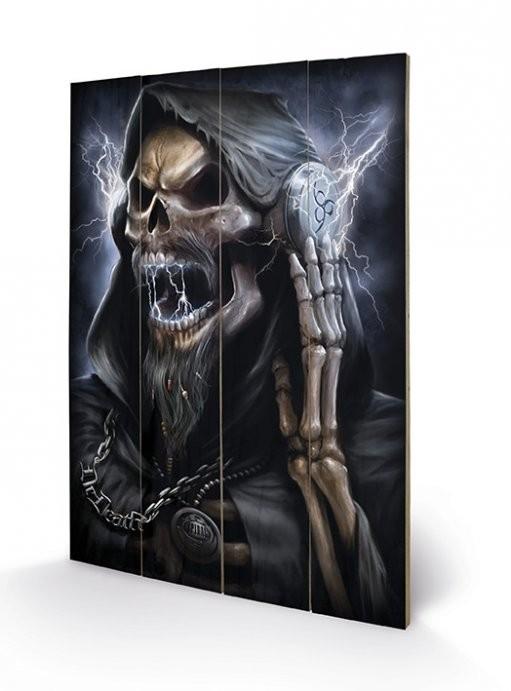 SPIRAL - dead beats / reaper kunst op hout