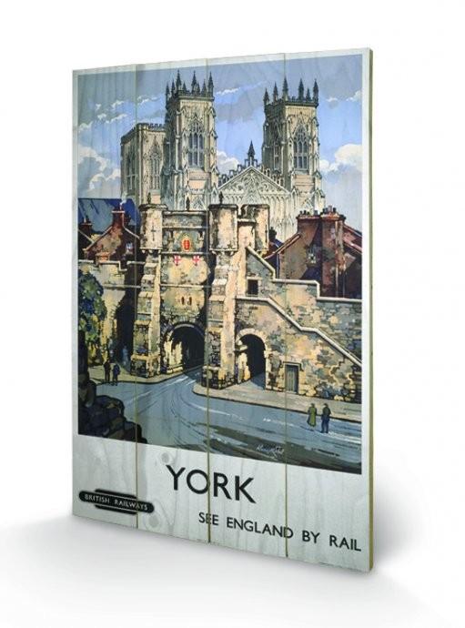 York - See Britain by Rail kunst op hout