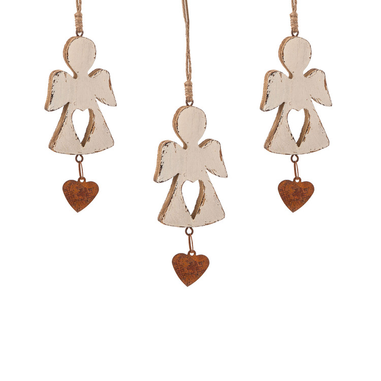 Angel Wooden Hanging Decoration with Heart, 12 cm, set of 3 pcs Huis Decoratie