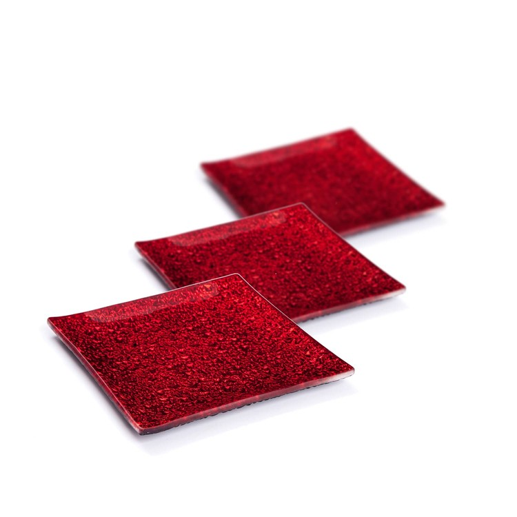 Candle Coasters Red 12 cm, set of 3 pcs Huis Decoratie