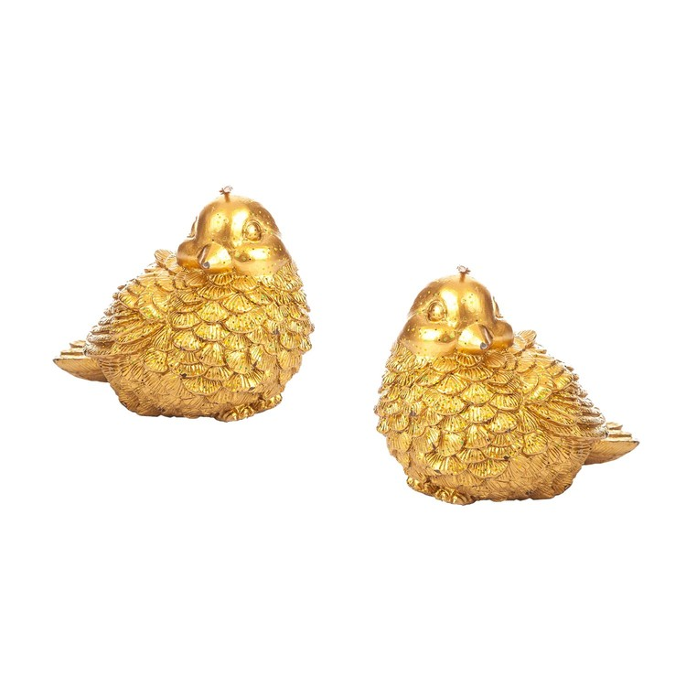 Candle Gold Bird, 11 cm, set of 2 pcs Huis Decoratie