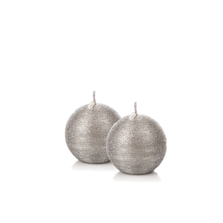 Candle Sphere 6 cm, Silver, set of 2 pcs Huis Decoratie