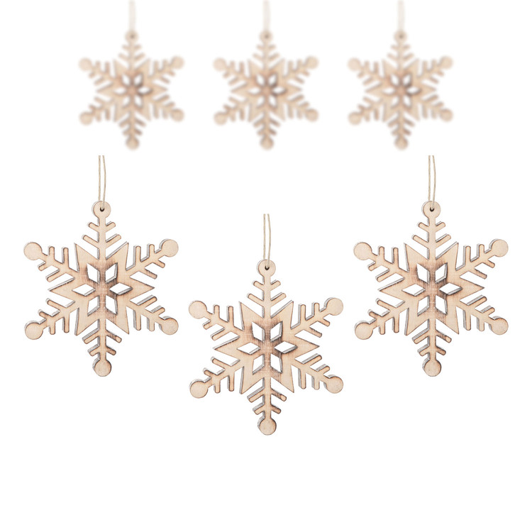 Hanging Wooden Snowflake, 12 cm, set of 6 pcs Huis Decoratie