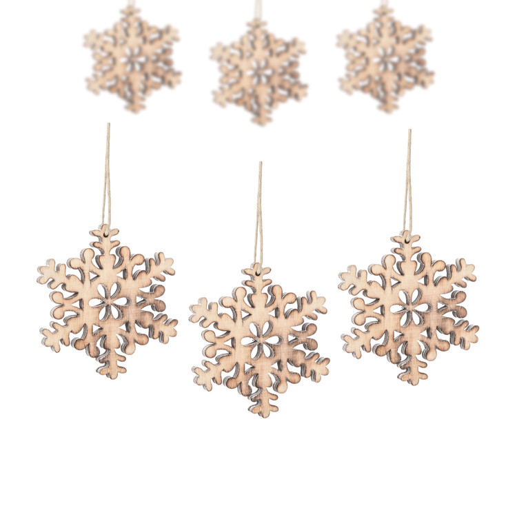 Hanging Wooden Snowflake, 8 cm, set of 6 pcs Huis Decoratie