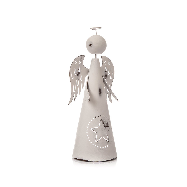 Metal Angel White with Star, 26 cm Huis Decoratie