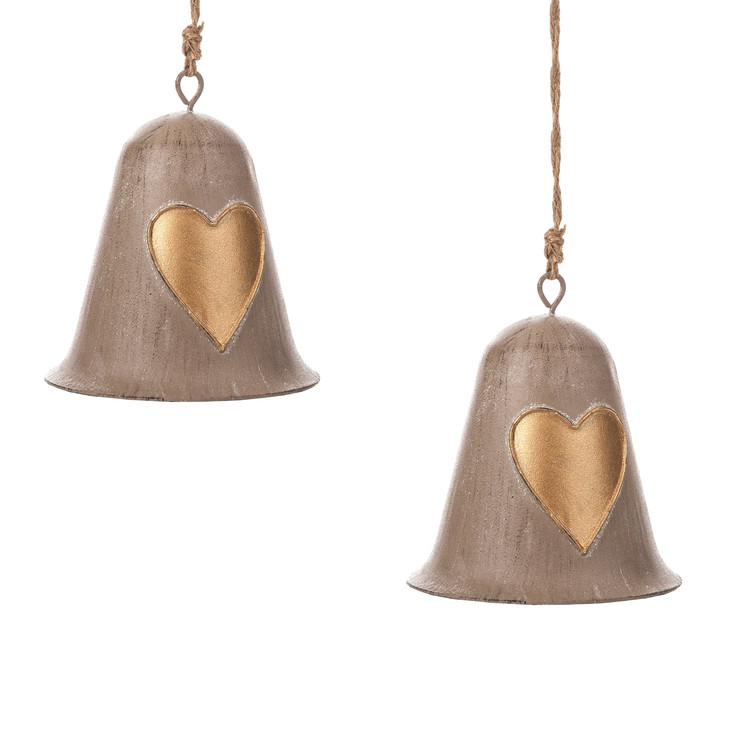 Metal Bell Gold Heart, 10 cm, set of 2 pcs Huis Decoratie