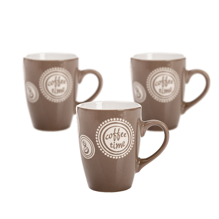 Mug Coffee Time - Light Brown 300 ml, set of 3 pcs Huis Decoratie