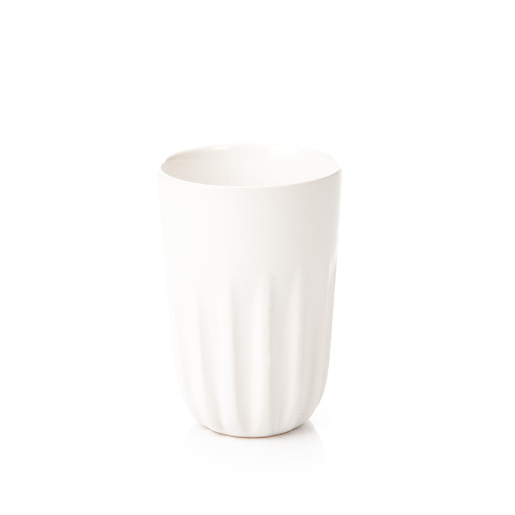 Mug Ribbed Tall, Matte White 300 ml Huis Decoratie