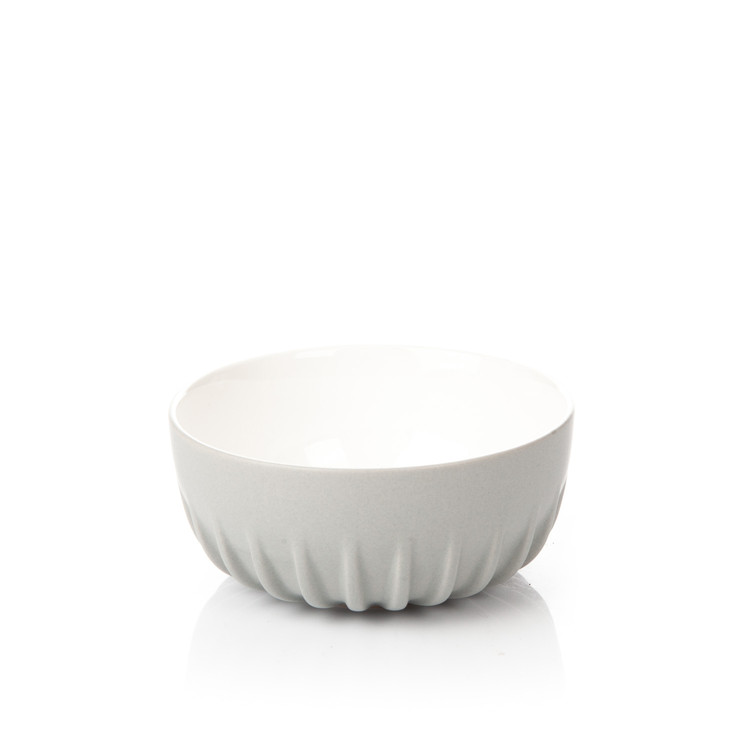 Salad Bowl Ribbed, Light Gray Huis Decoratie