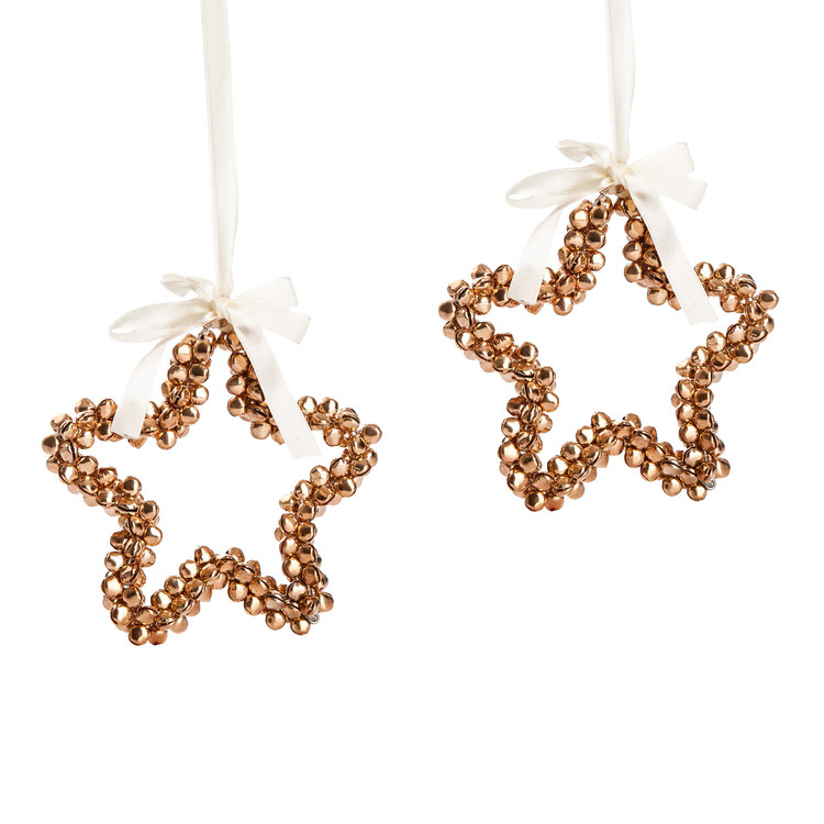Star with Gold Bells, 10 cm, set of 2 pcs Huis Decoratie