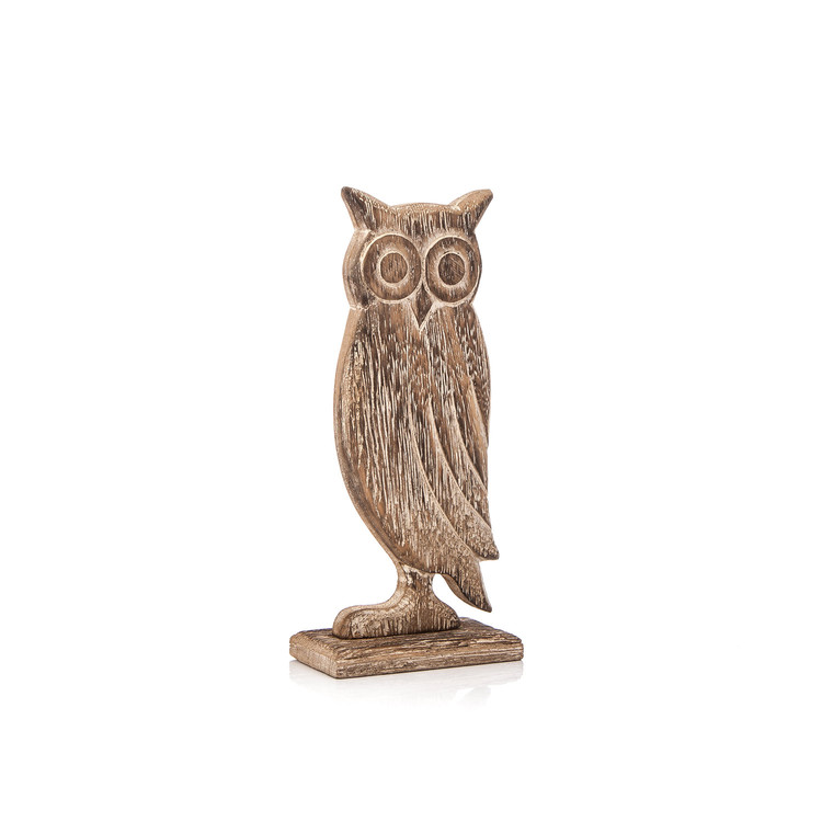 Wooden Owl Faded Paint, 18 cm Huis Decoratie