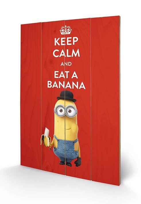 Poster su legno I Minion (Cattivissimo me) - Keep Calm
