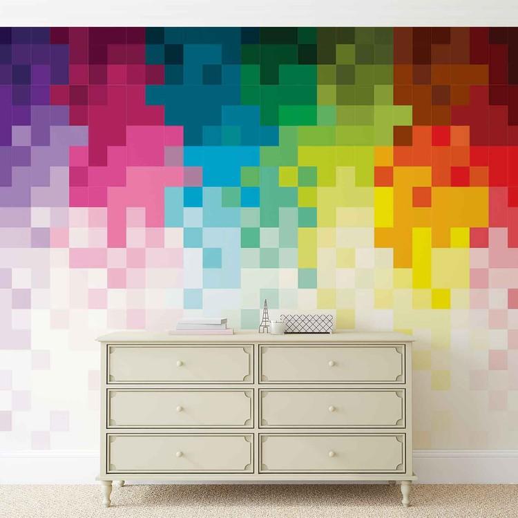 Carta da parati Arcobaleno Motivo Pixel
