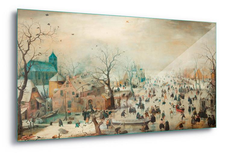 Cuadro en vidrio  Winter Landscape With Skaters, Hendrick Avercamp