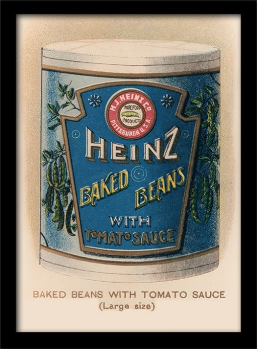 Heinz - Vintage Beans Can ingelijste poster met glas