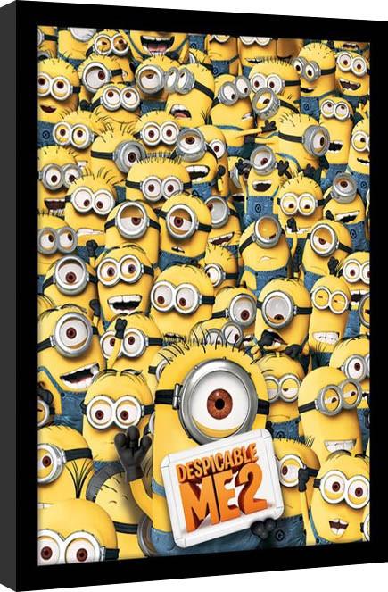 Minions (Verschrikkelijke Ikke) - Many Minions ingelijste poster met glas