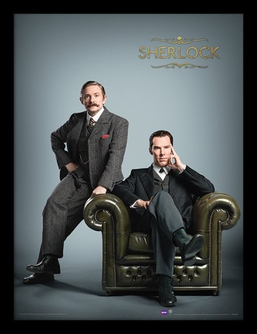Sherlock - Chair ingelijste poster met glas