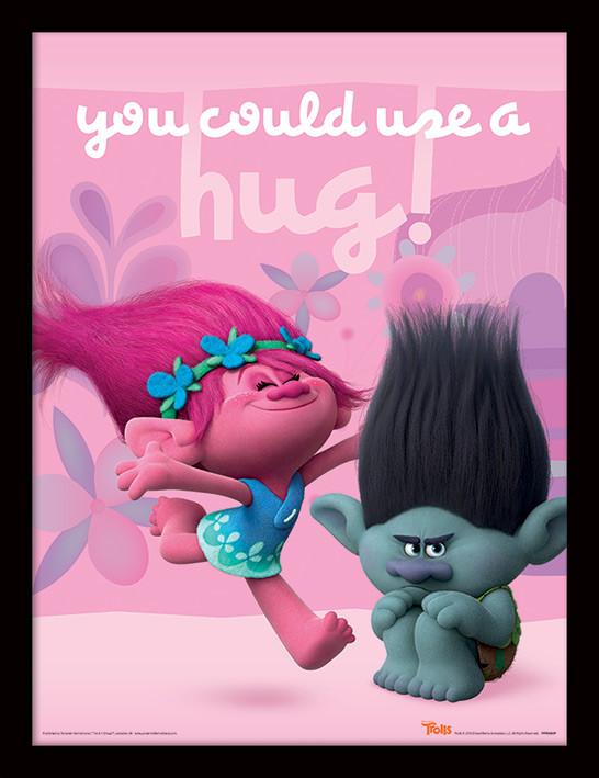 Trolls - Hug ingelijste poster met glas