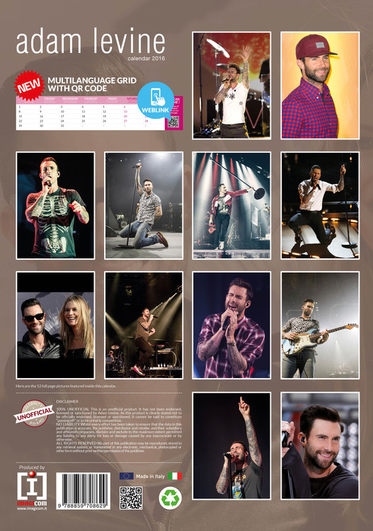 Kalendář 2021 Adam Levine (Maroon 5)