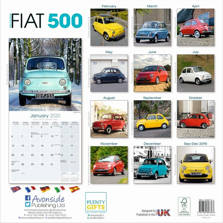 Kalendář 2020 Fiat 500