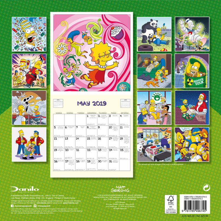 Kalendář 2019  Simpsonovi