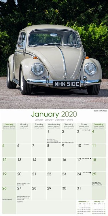 VW Beetle Kalendar 2020