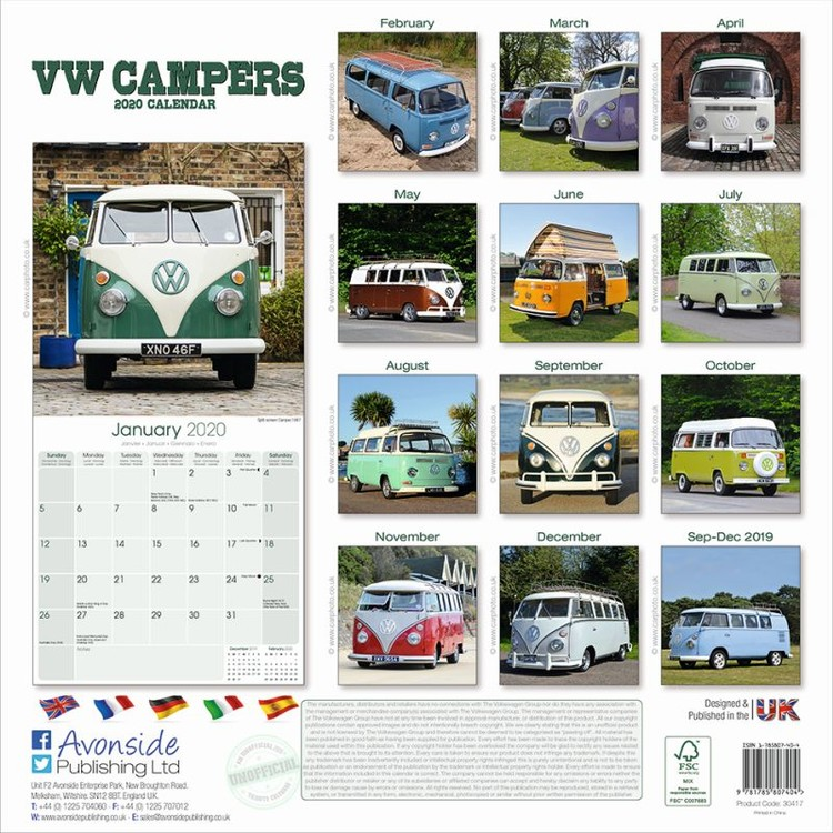 VW Camper Vans Kalendar 2020