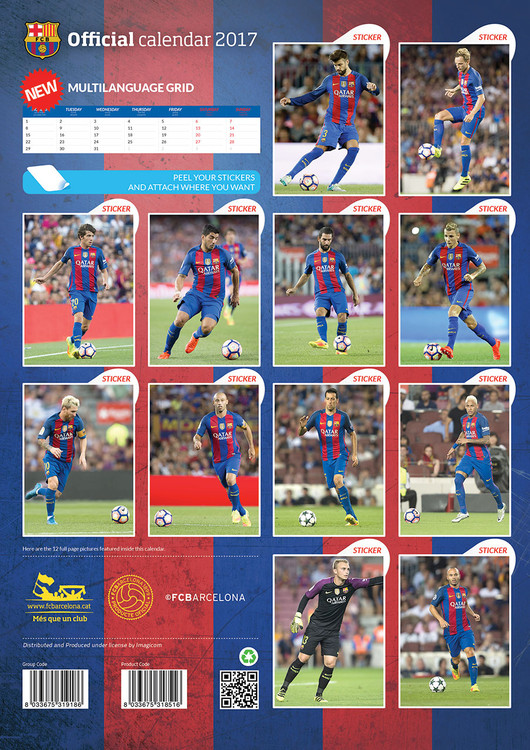 Barcelona + 12 free stickers Kalendarz 2019