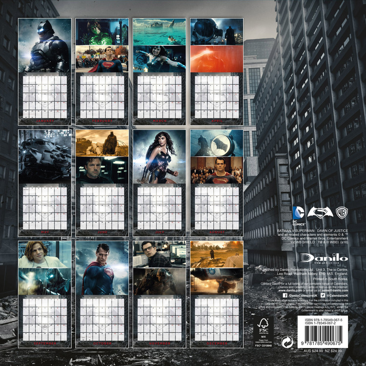 Batman vs Superman Kalendarz 2018