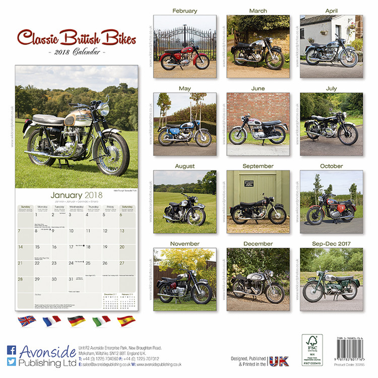 kalender 2019 classic british bikes bei europosters. Black Bedroom Furniture Sets. Home Design Ideas