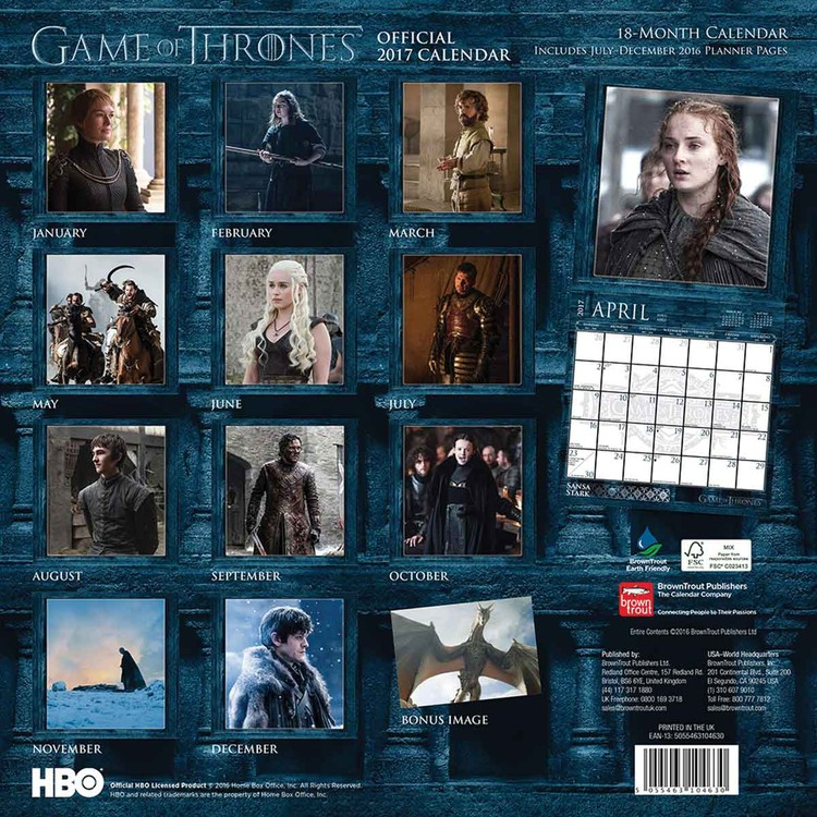 Kalender 2018  Game of Thrones