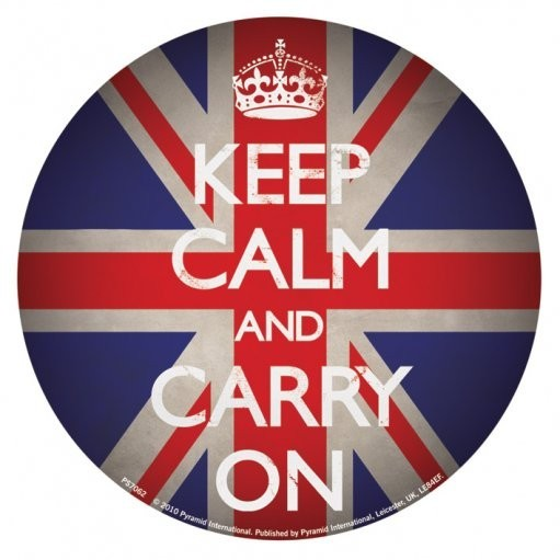 KEEP CALM AND CARRY ON - union jack Autocolant