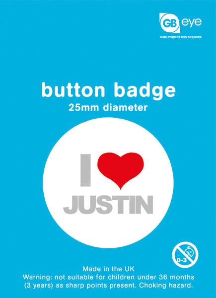 Kitűzők Justin Bieber - I Love Justin