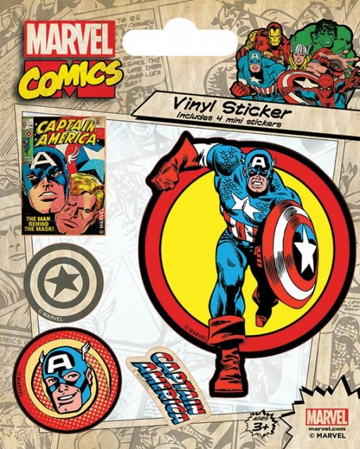 Marvel Comics - Captain America Retro Klistremerke