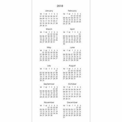 koledarji 2018