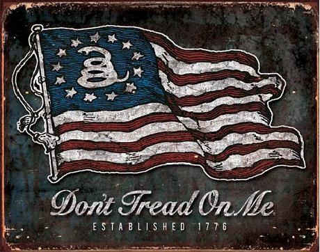 Kovinski znak Don't Tread On Me - Vintage Flag