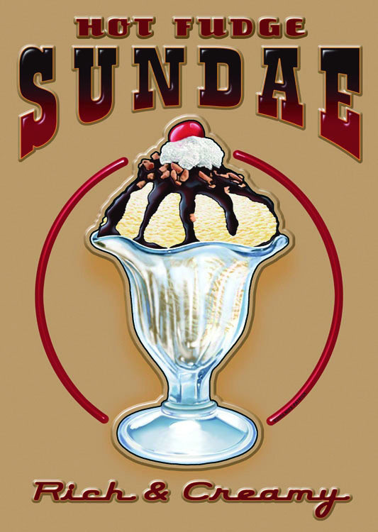 HOT FUDGE SUNDAE Kovinski znak