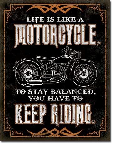 Kovinski znak Life is Life - Motorcycle