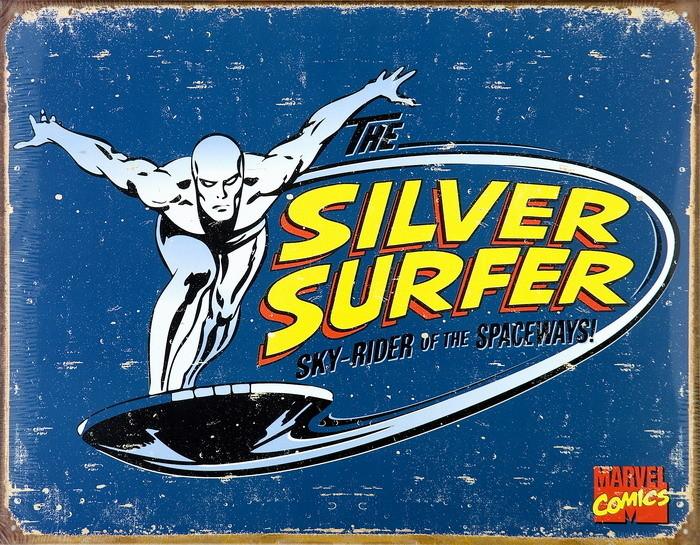 VINTAGE SILVER SURFER Kovinski znak