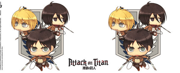 Attack on Titan (Shingeki no kyojin) - Chibi Trio Kubek