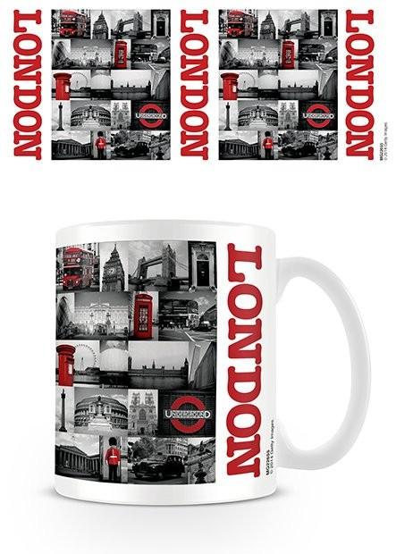 Londyn - Red collage Kubek