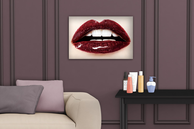 Kunst op glas Dark Red Lips - Passion