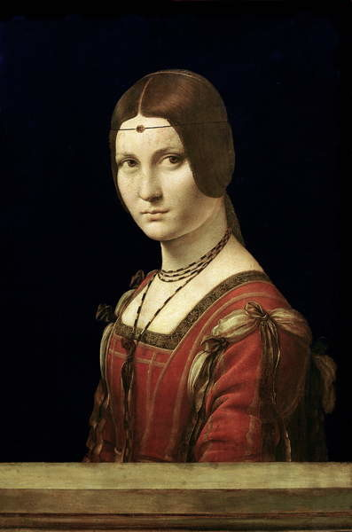Portrait of a Lady from the Court of Milan, c.1490-95 Lerretsbilde
