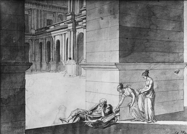 Two young girls bringing bread to Homer asleep, c.1794 Kunsttrykk