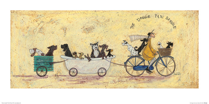 Sam Toft - The Doggie Taxi Service Kunsttrykk