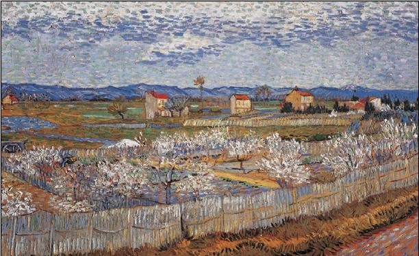 La Crau with Peach Trees in Blossom, 1889 Reproduction d'art