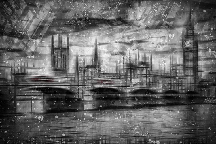 Billede på lærred City Shapes LONDON Houses of Parliament