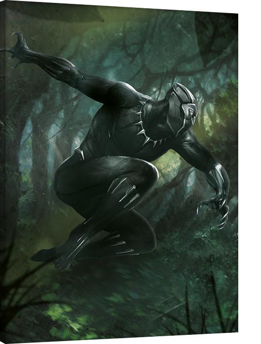 Black Panther - Forest Chase Billede på lærred